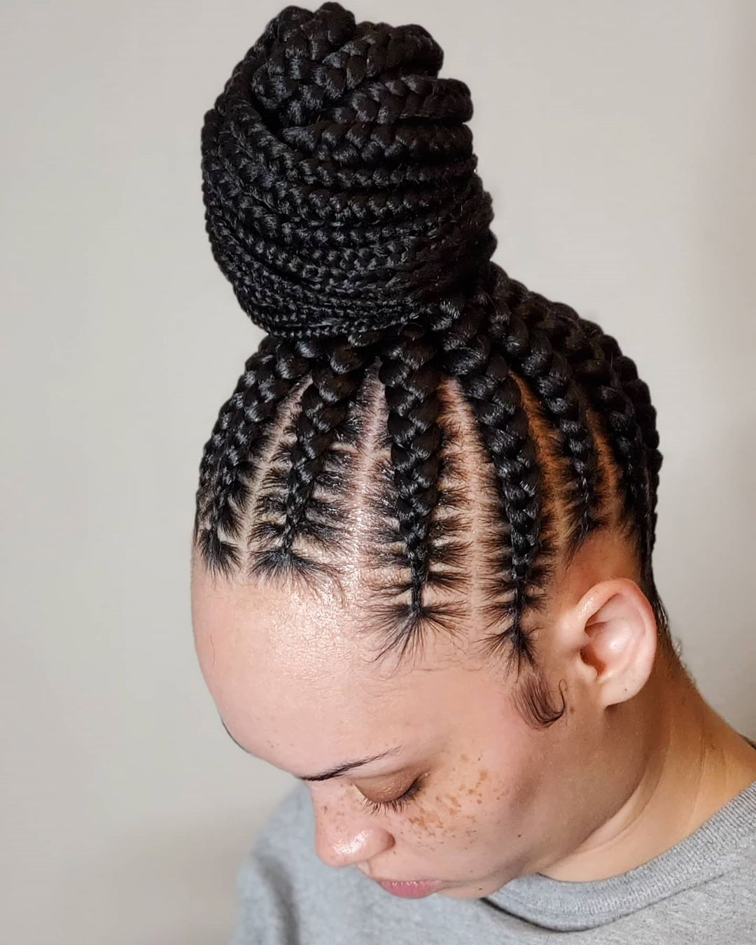 Big Cornrows in a High Bun