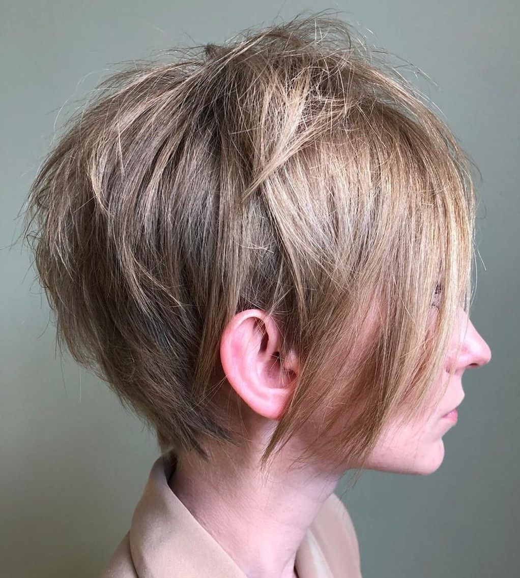 Edgy Short Hairstyle with a Long Fringe