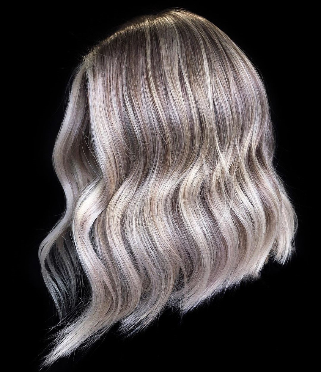 Dark Blonde Hairstyle with Silver Balayage