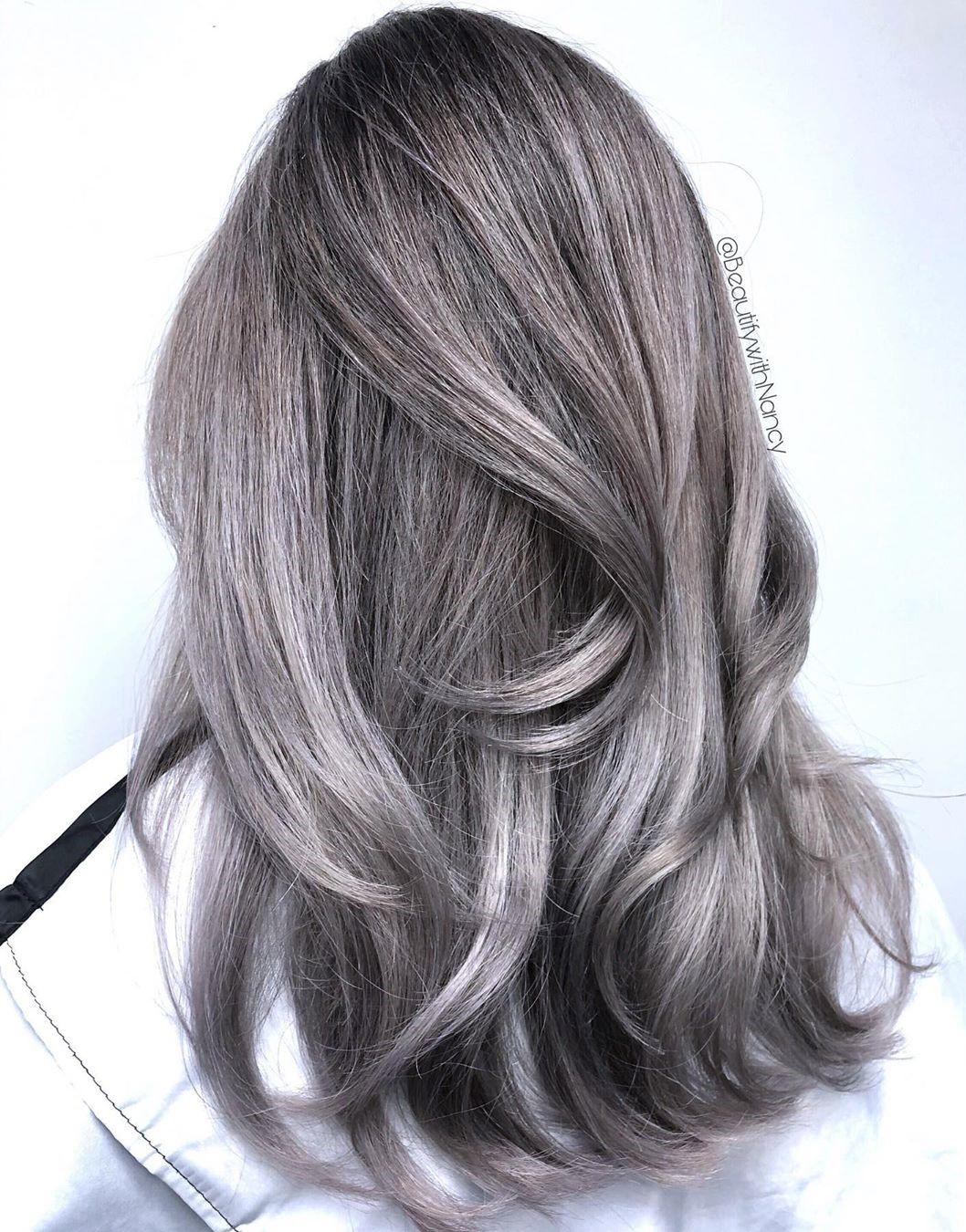 Dark Smokey Silver Hairstyle