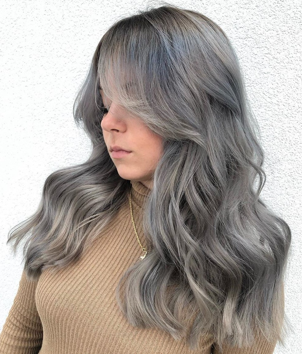Gray Hair with Silver Blue Highlights