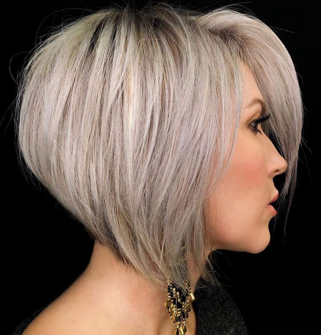Silver Hairstyle with a Lilac Tint