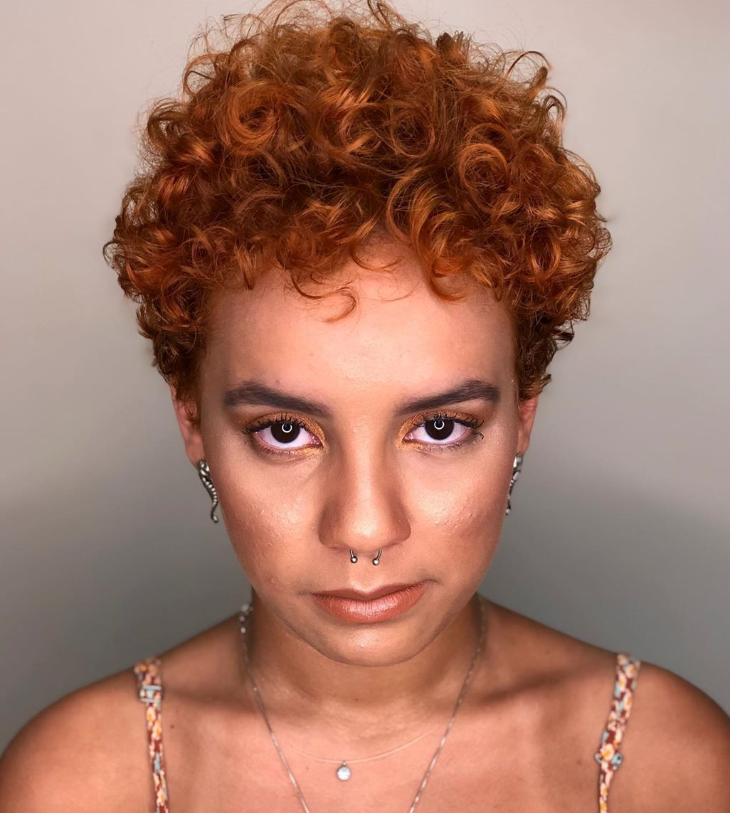Short Bright Rusty Haircut for Curly Hair