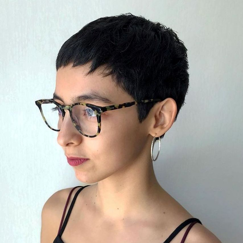 Short Hairstyle with Baby Bangs and Glasses