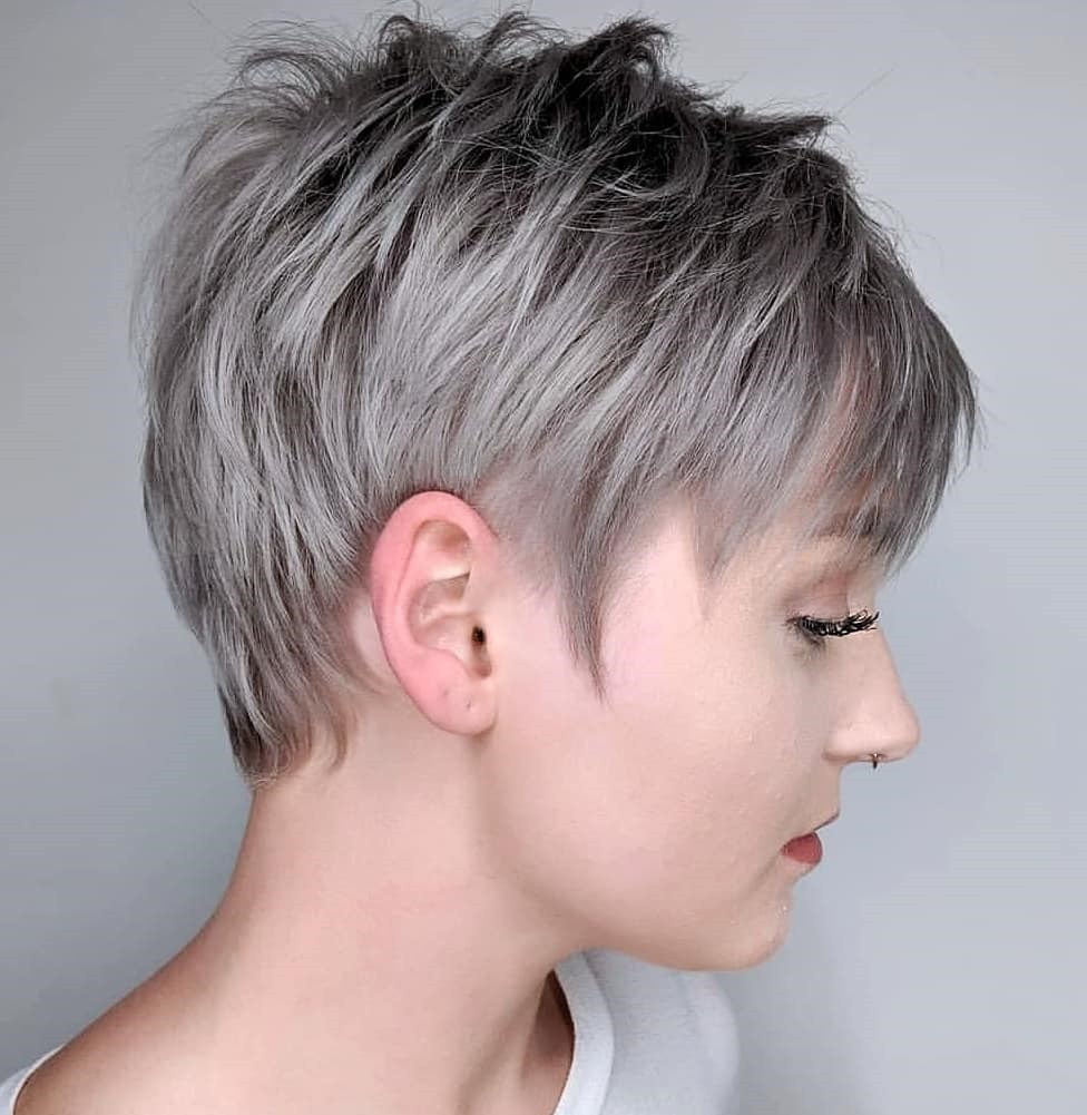 Short Gray Silver Balayage Hair