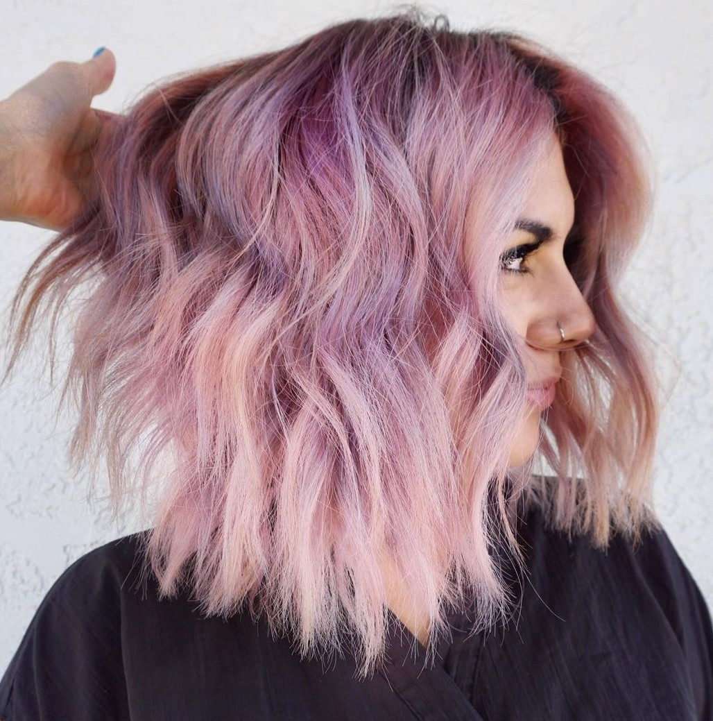 Rose Gold Hair with Purple Highlights