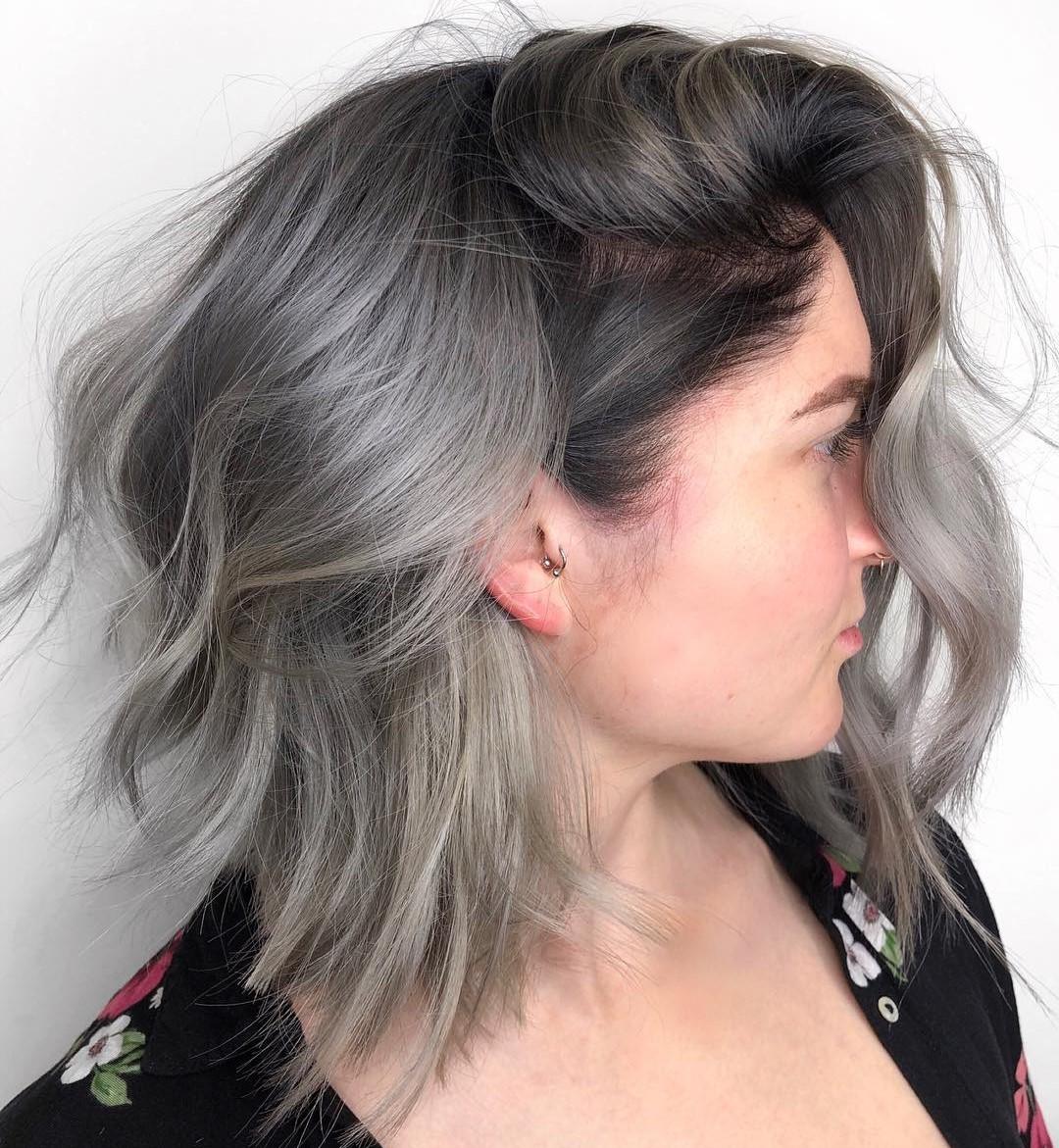 Silver Brown Gray Balayage Hair