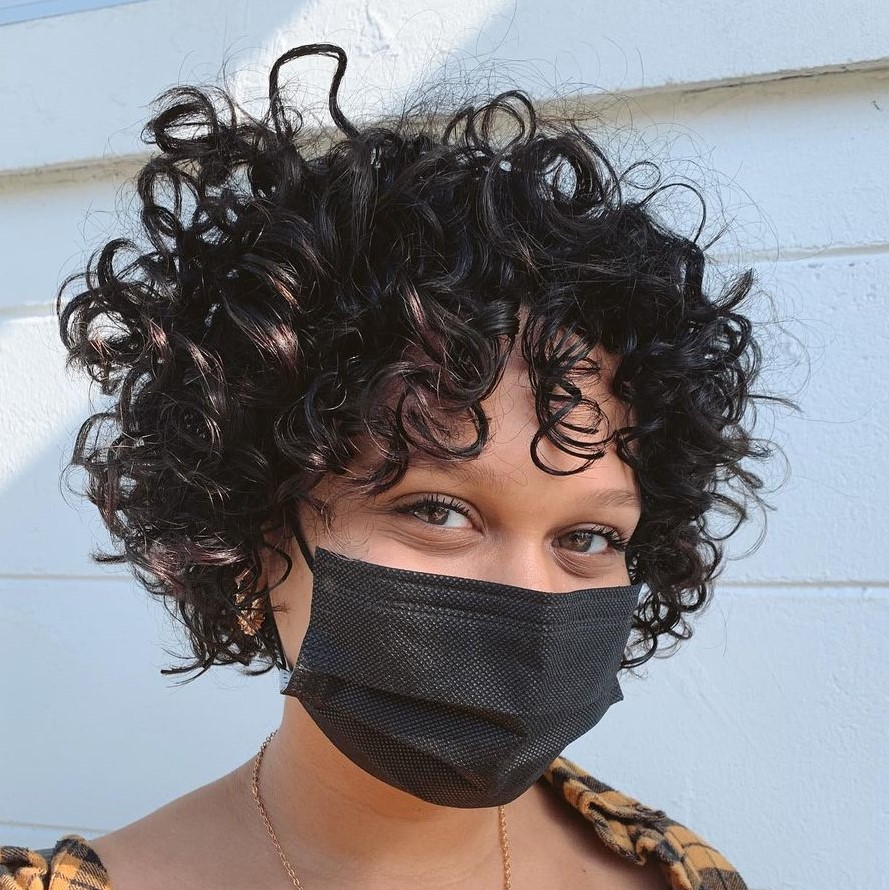 Short Curls with Bangs for Women