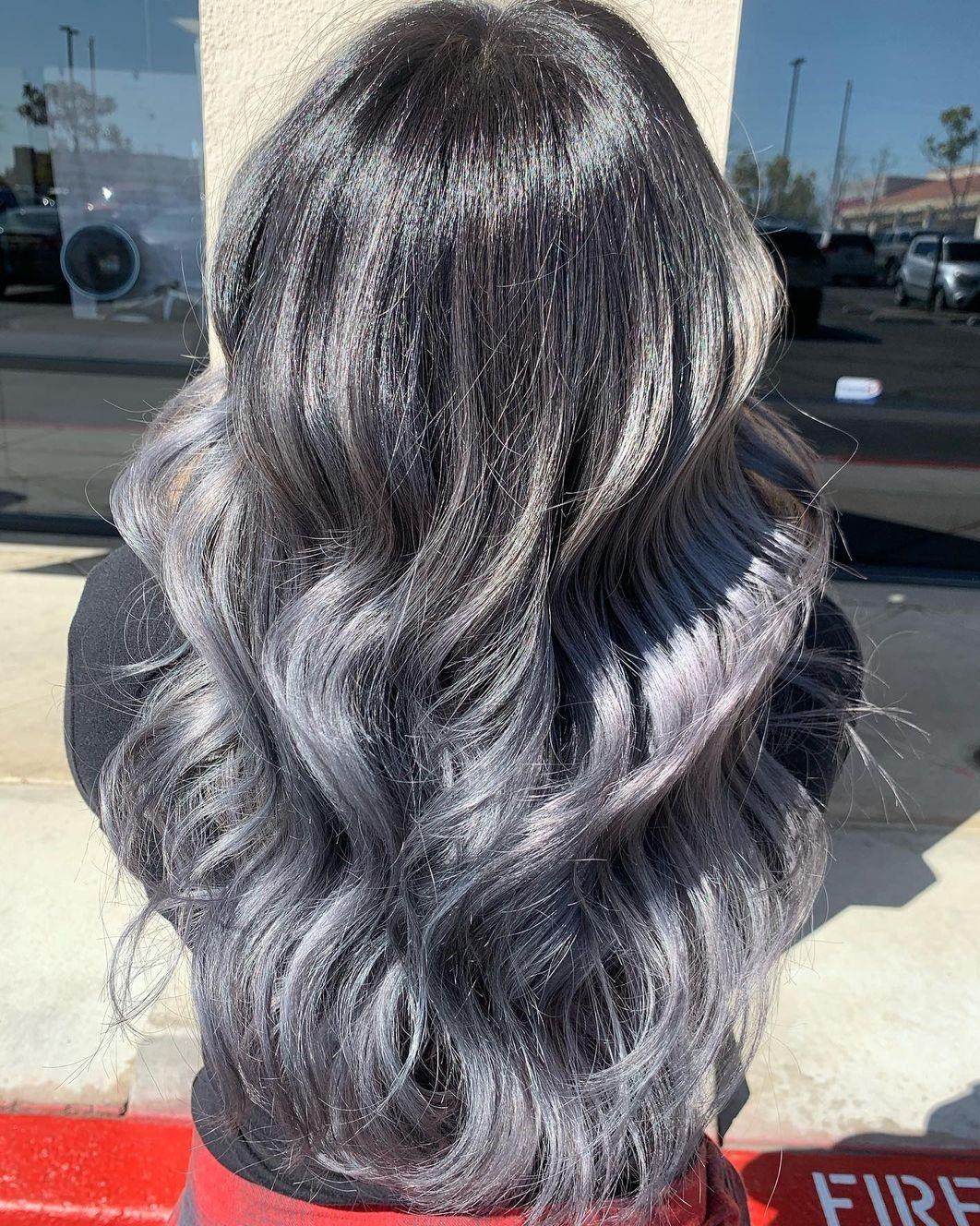 Silver Balayage for Black Hair
