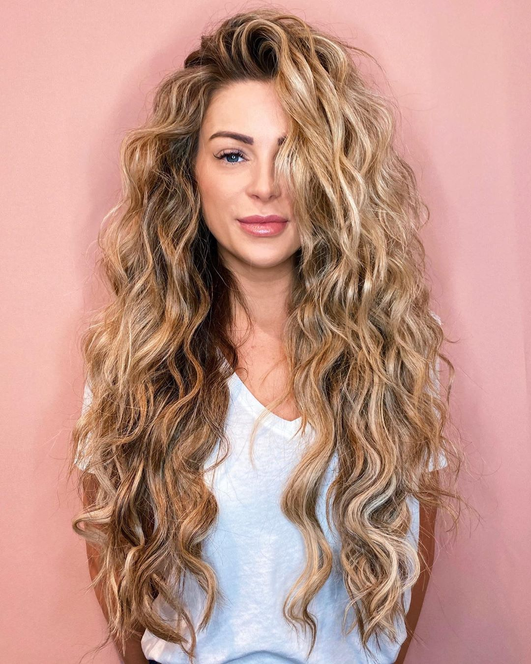 Long Warm Blonde Balayage Hair