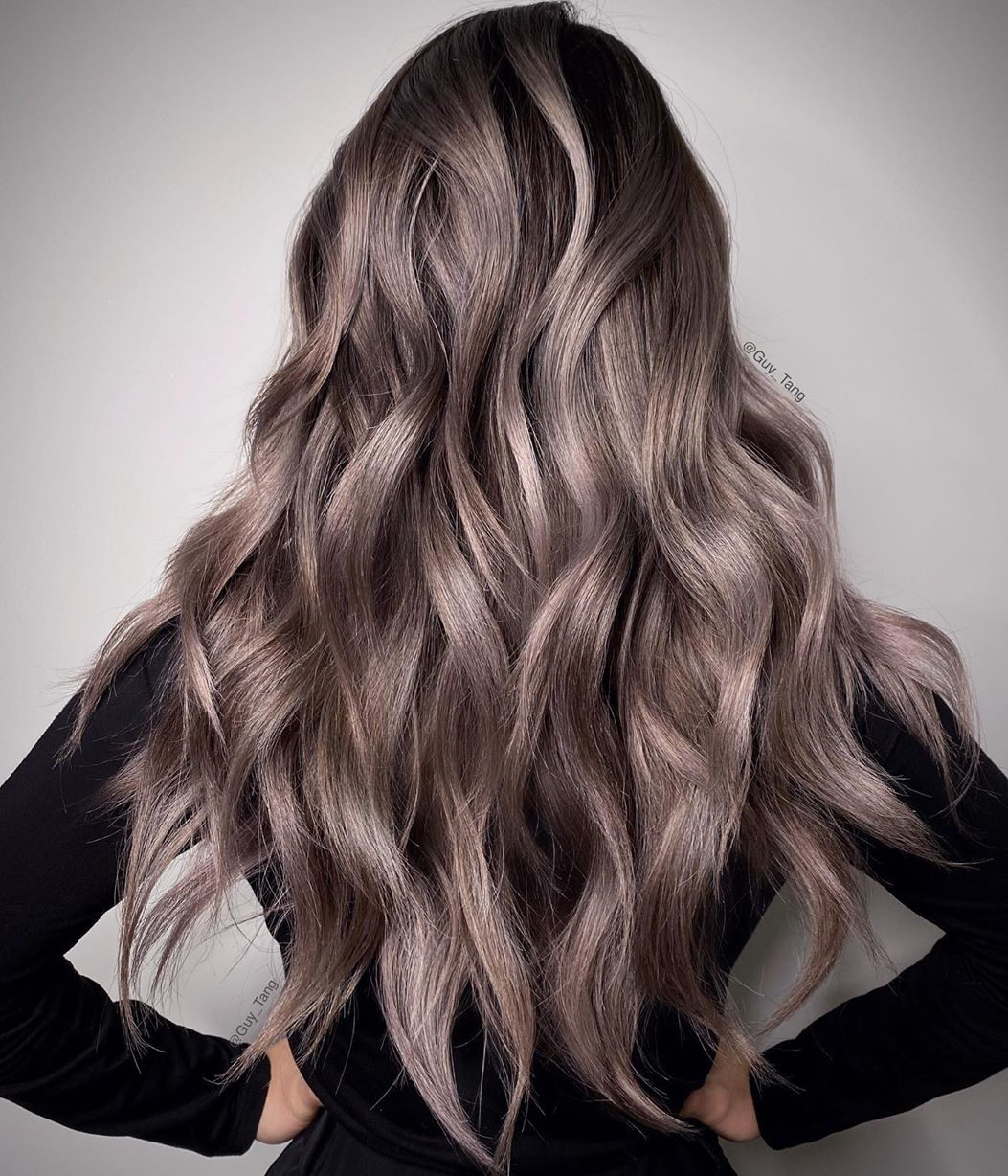 Rose Mauve Hair with Silver Highlights