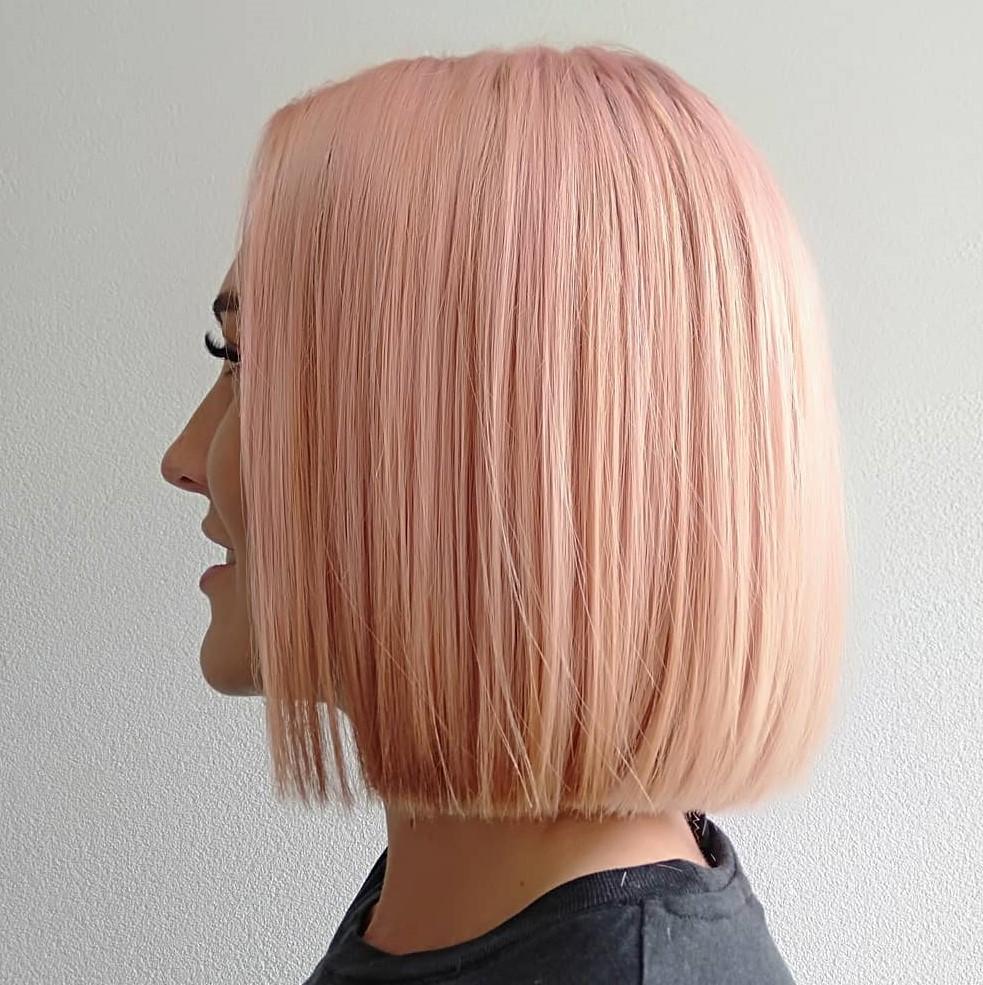Rose Blonde Blunt Bob