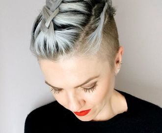 Short Shaved Sides Braided Top Hairstyle