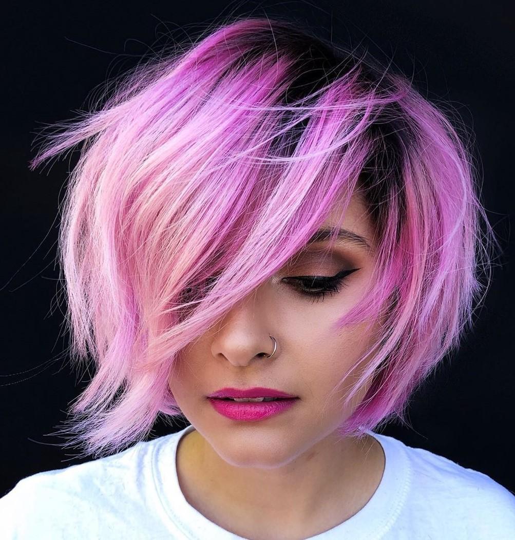 Short Pink Balayage with Dark Roots