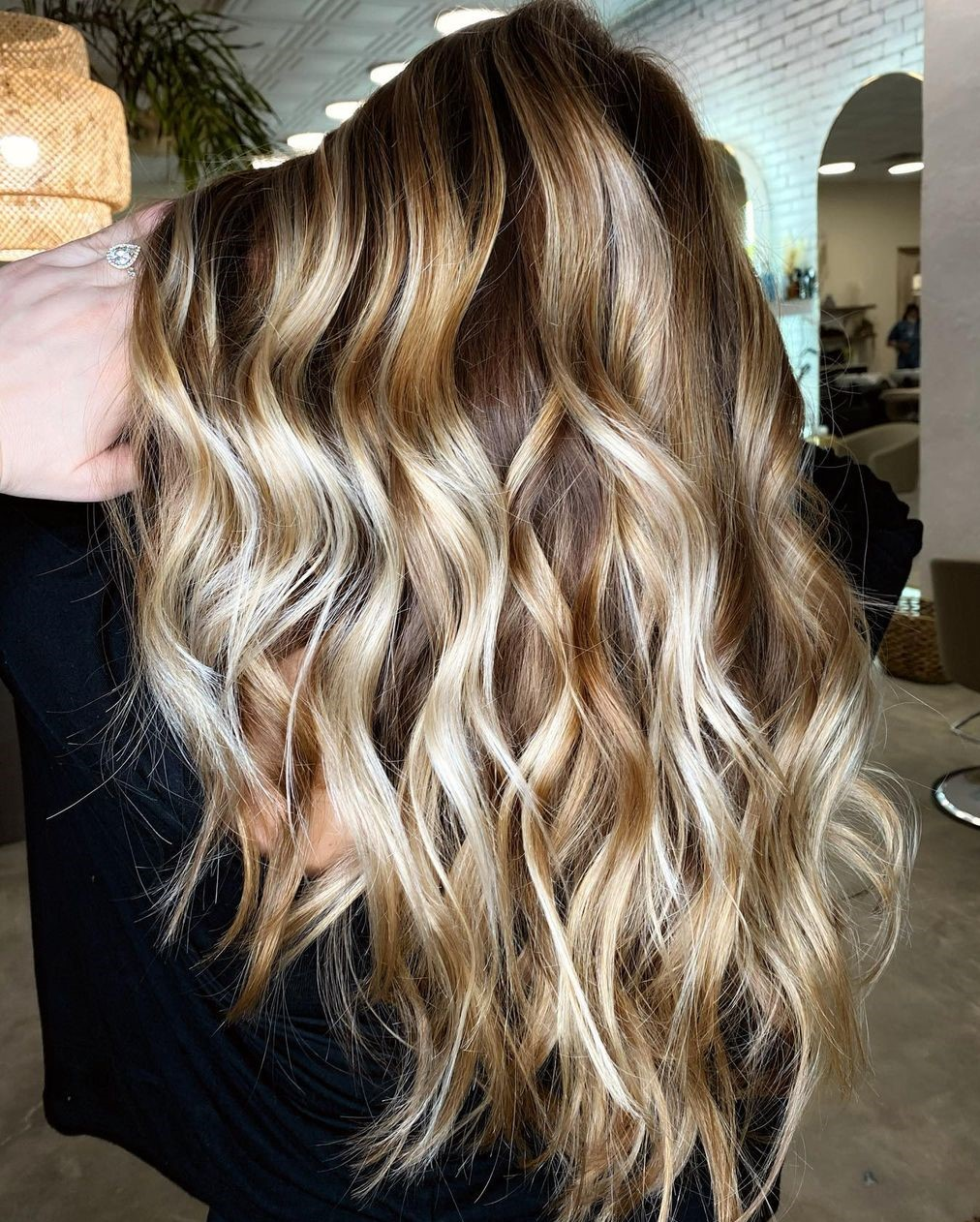 Brown Hair with Platinum Highlights