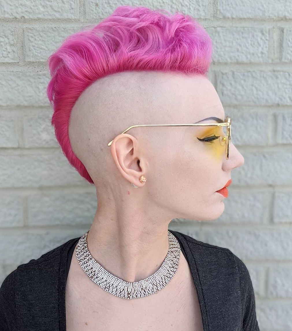 Neon Pink Mohawk with Shaved Sides