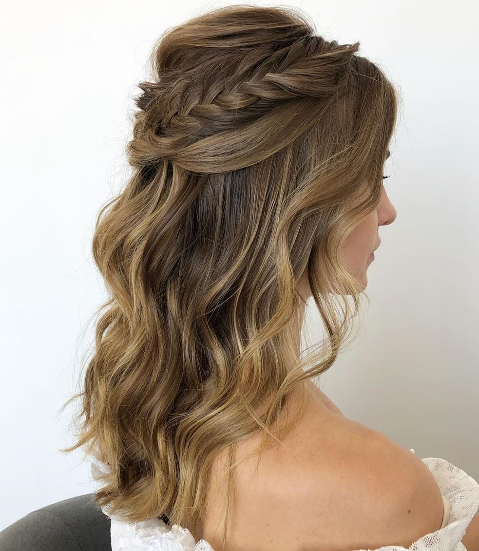 Bridal Half Up Hairstyle with a Braid