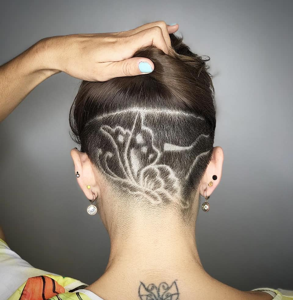 Shaved Butterfly Design for Nape Undercut
