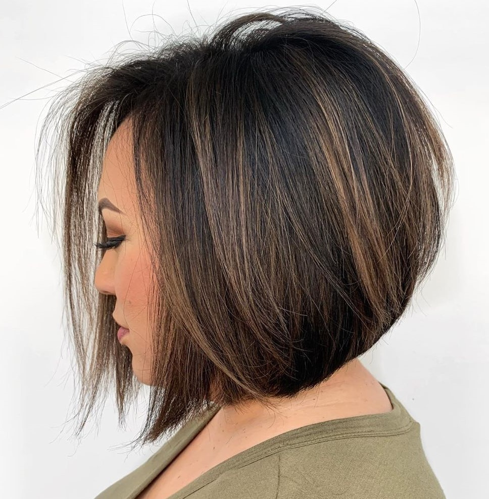 Dark Bob with Brown Highlights