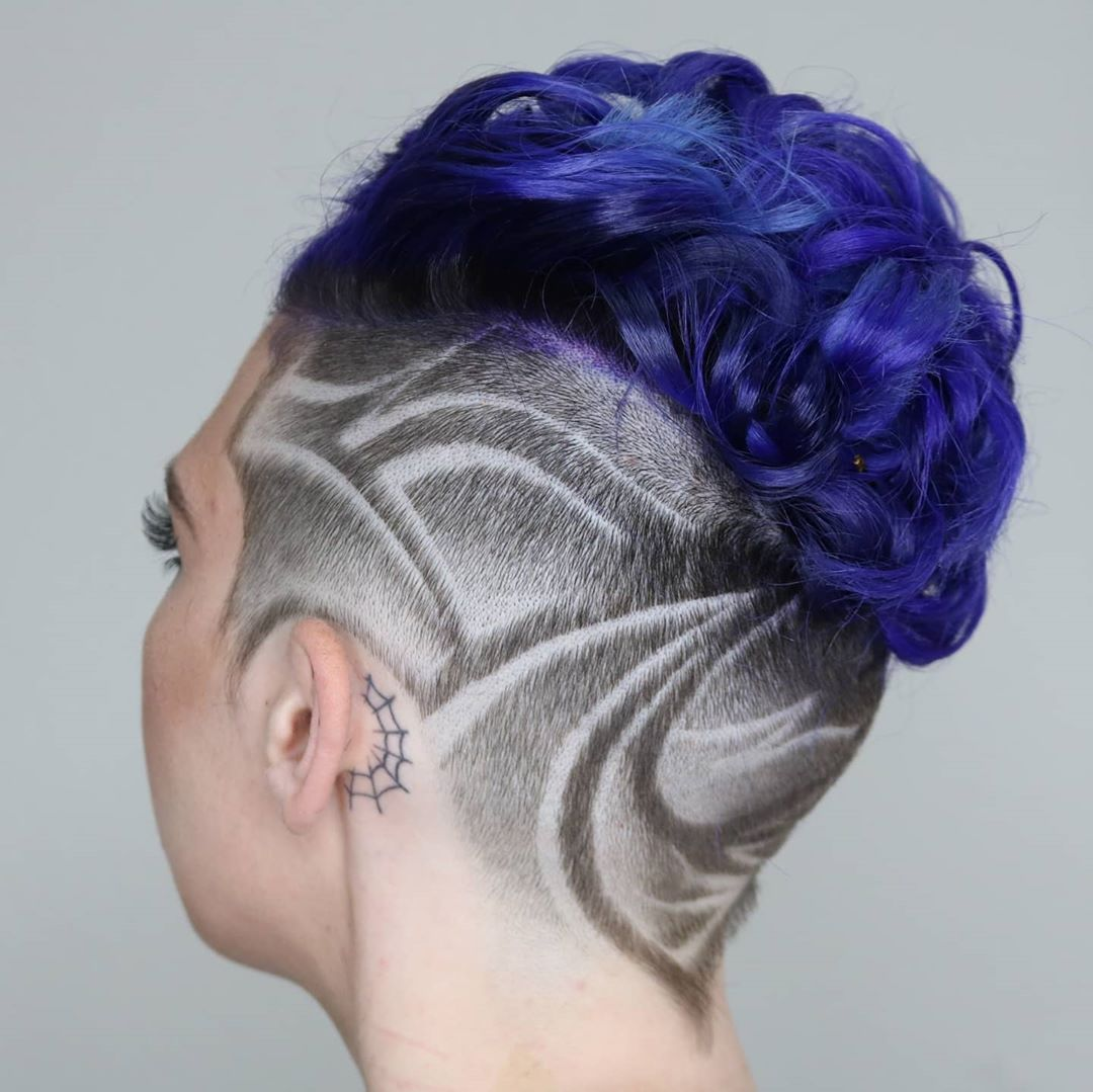 Shaved Sides Haircut with Geometric Design