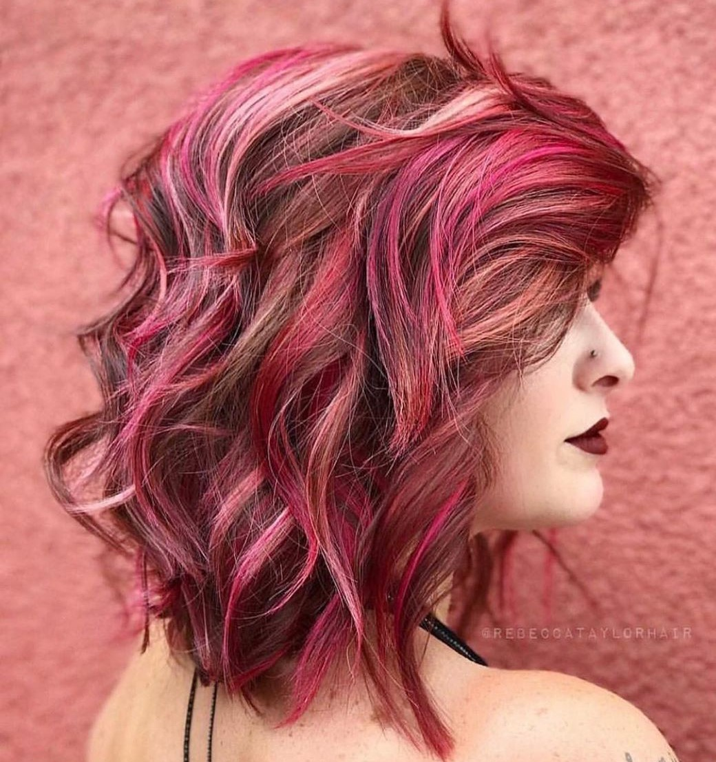 Light Brown and Pink Hair
