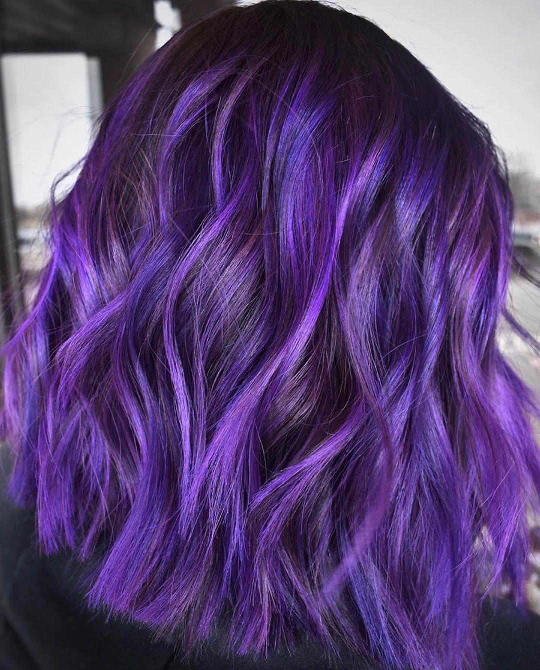 Bright Purple Highlights for Dark Hair