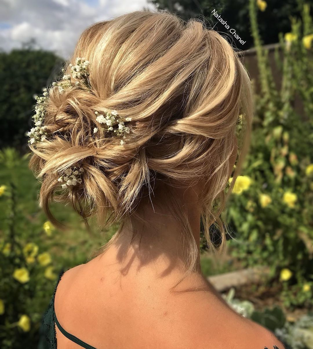 Updo with Flowers for Short Hair