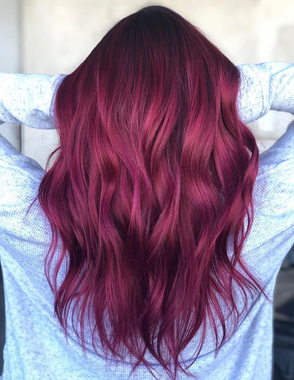 Dark Pink Balayage for Brown Hair
