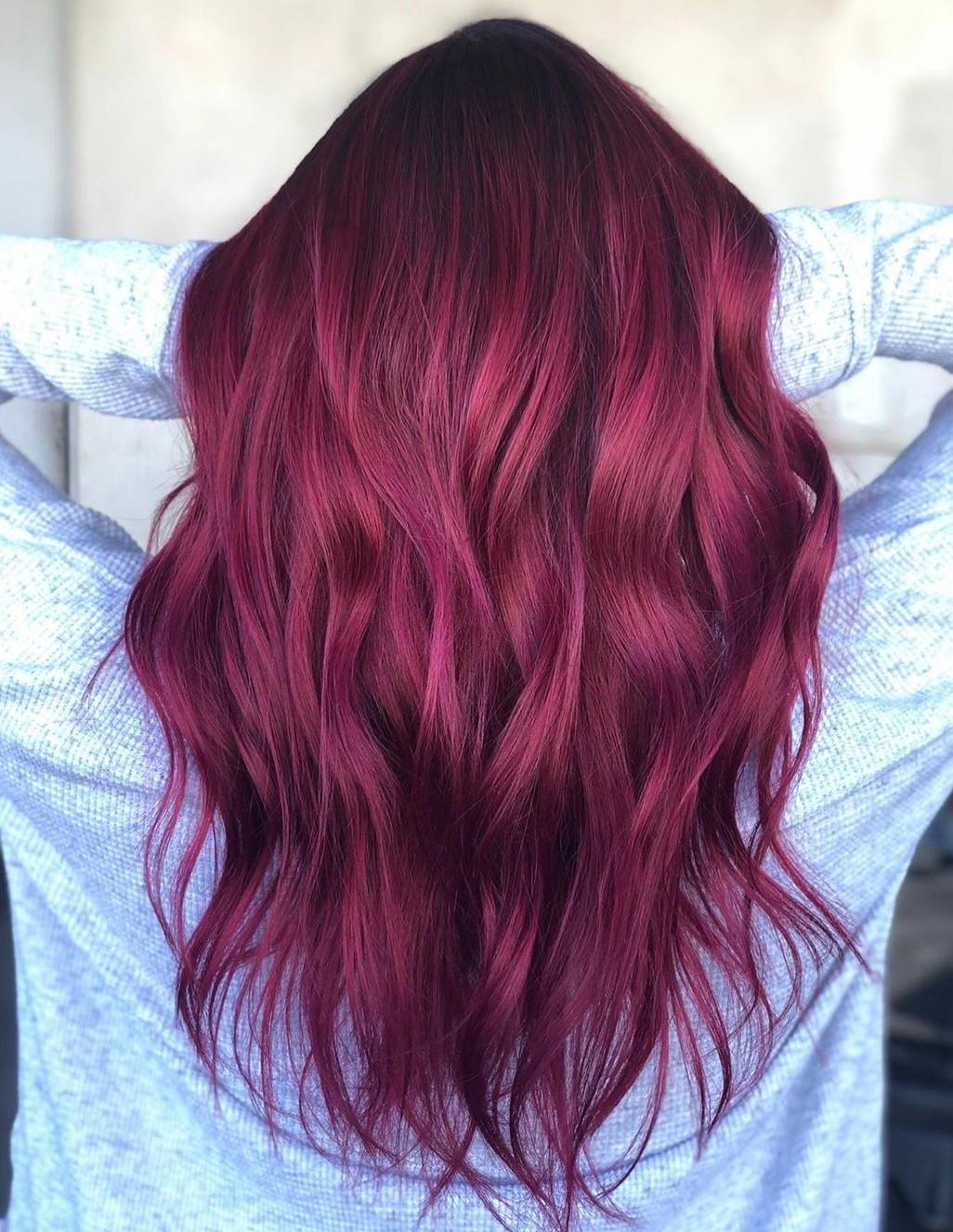 Dark Pink Balayage for Brown Hair