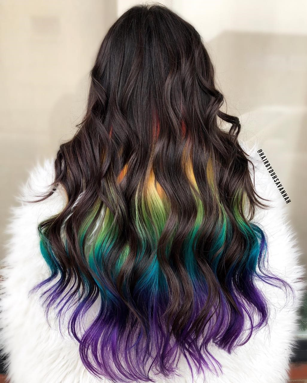 Rainbow Underneath Highlights for Brunettes