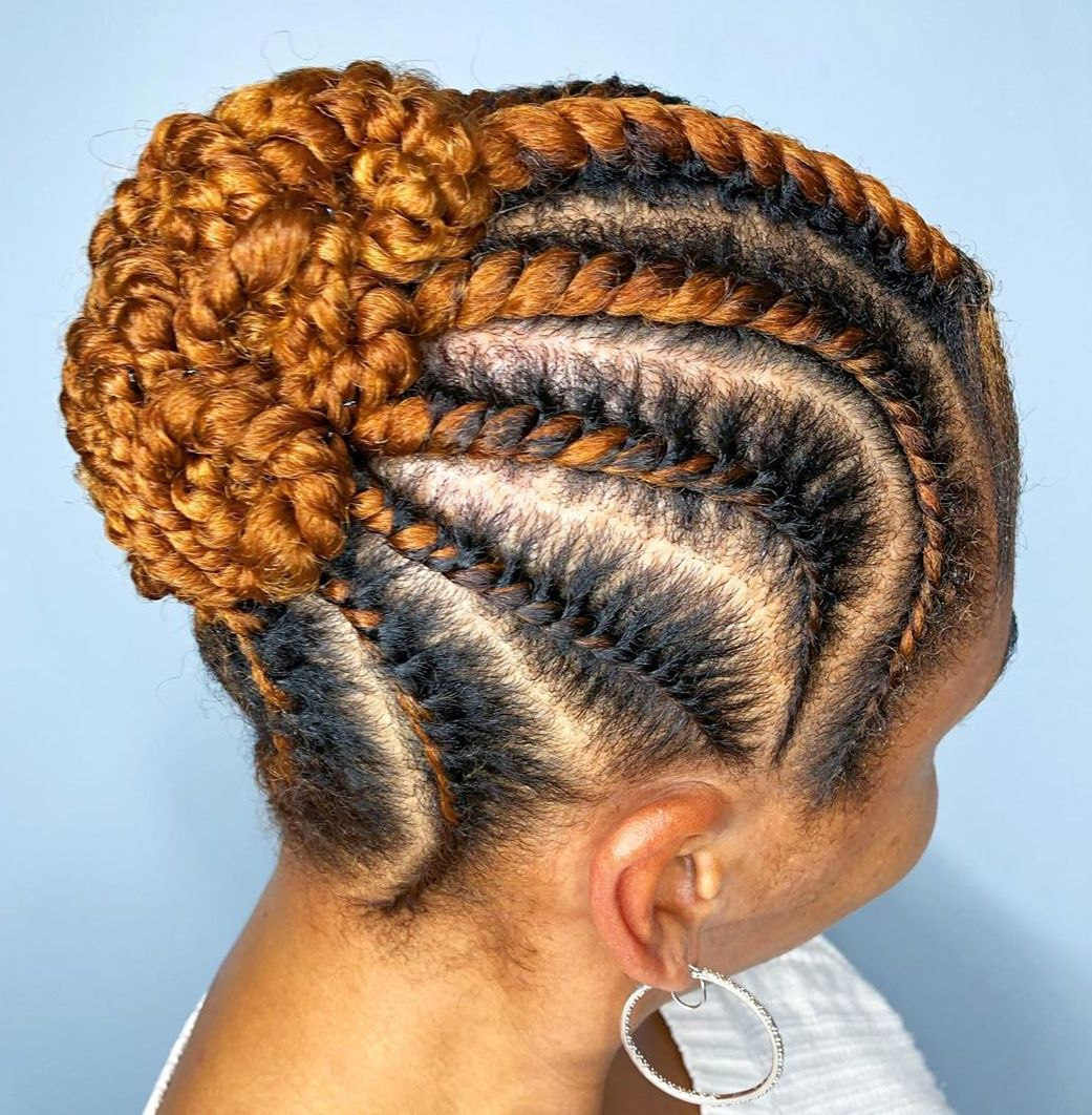 African American Short Updo with Ombre Braids