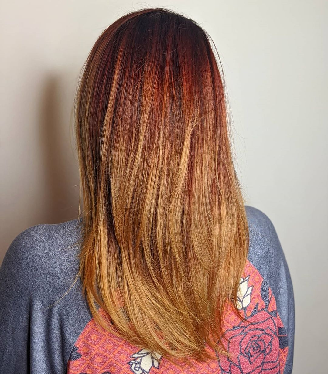 Red Hair with Strawberry Blonde Ends