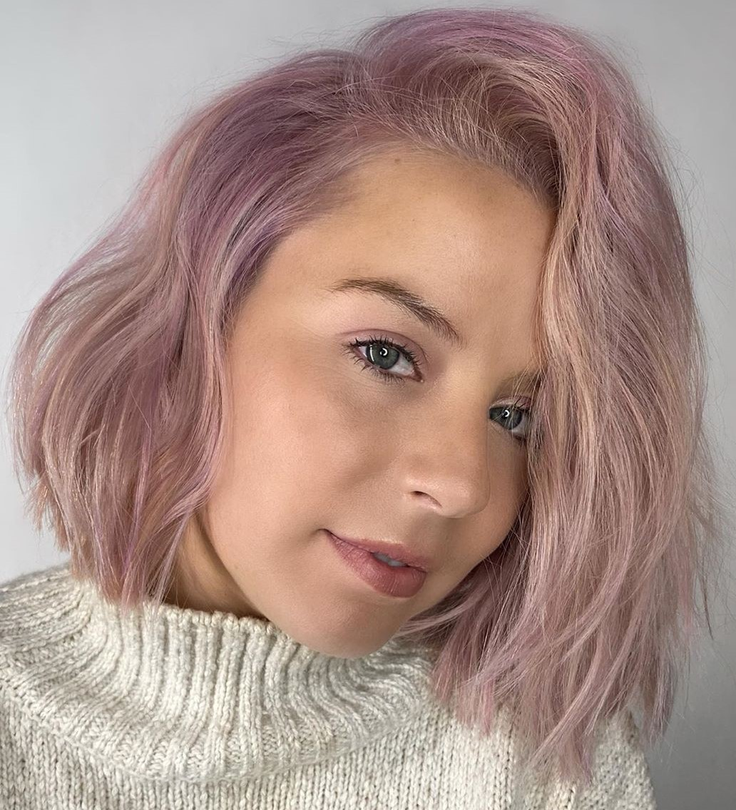 Ash Blonde Hair with Subtle Mauve Highlights