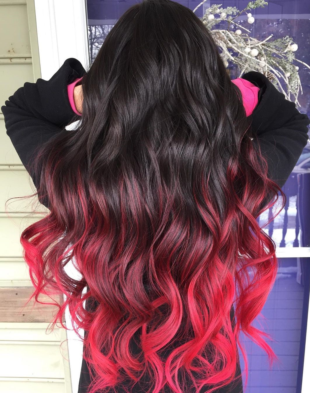 Black Hair with Bright Pink Ends
