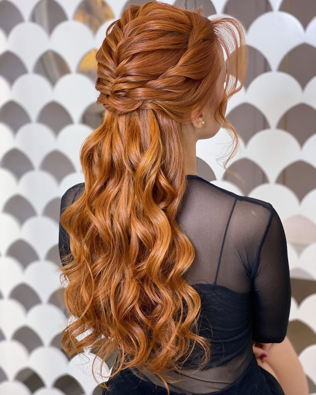 Long Curly Half-Up Hair with Braids