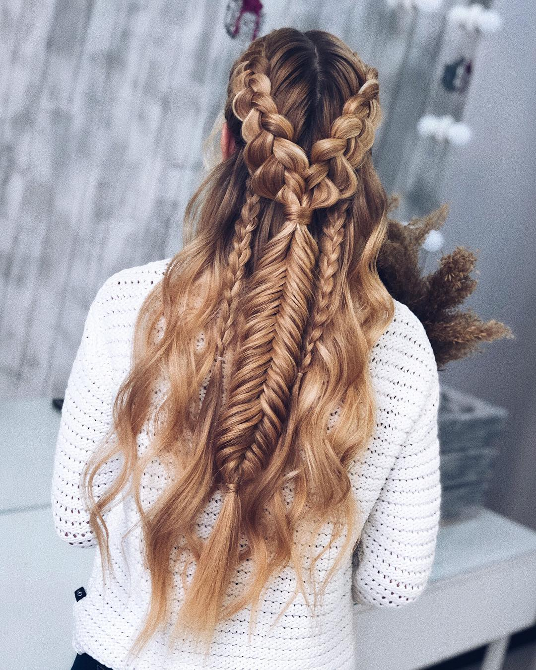 Fancy Braided Half-Up Hairdo