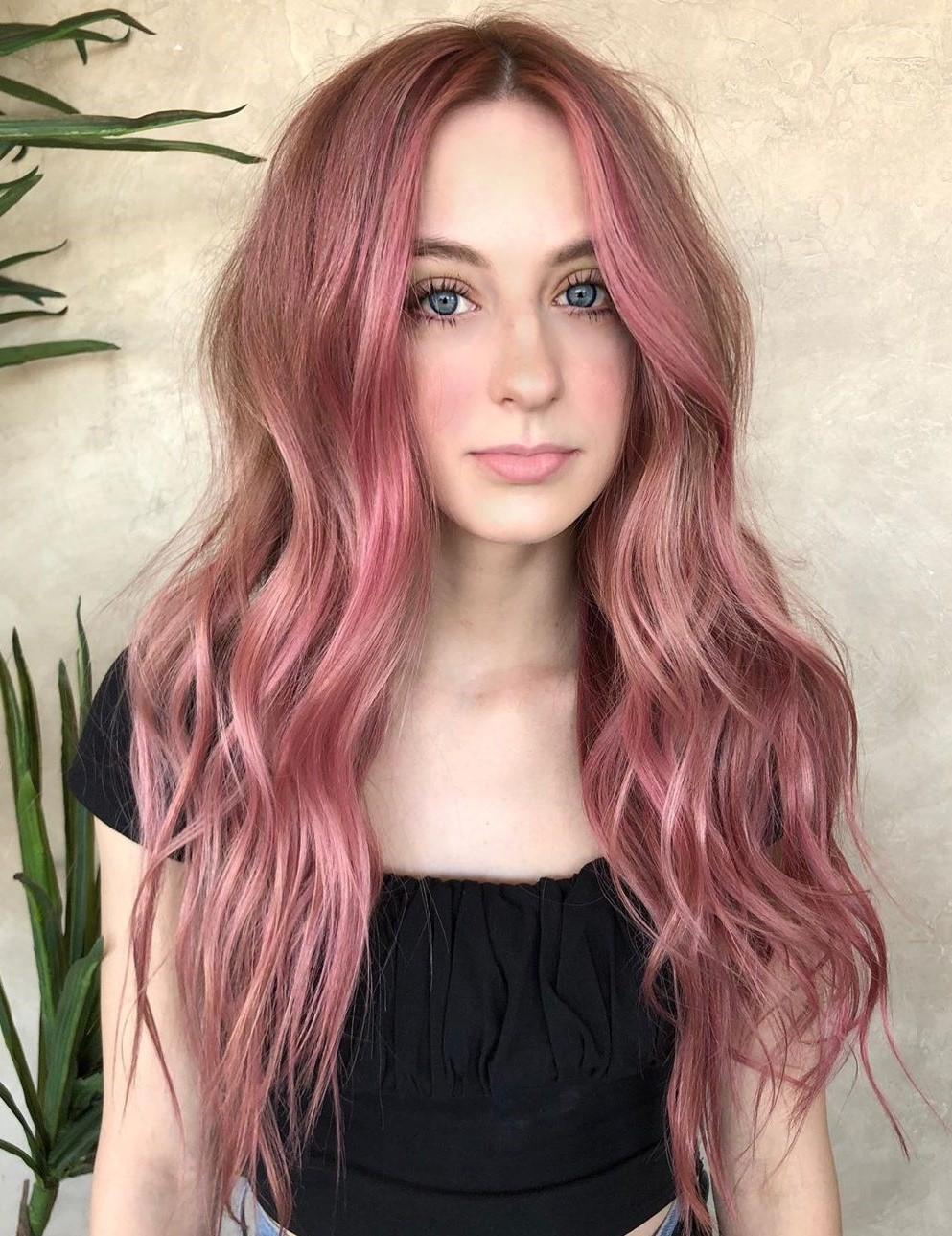 Light Brown Pink Hair