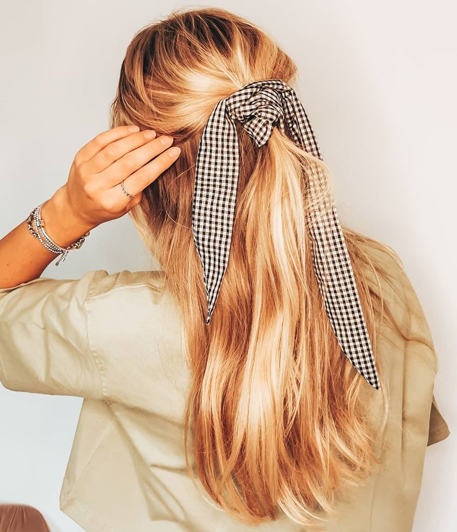 Easy Half Up Half Down Hairstyle with a Headscarf