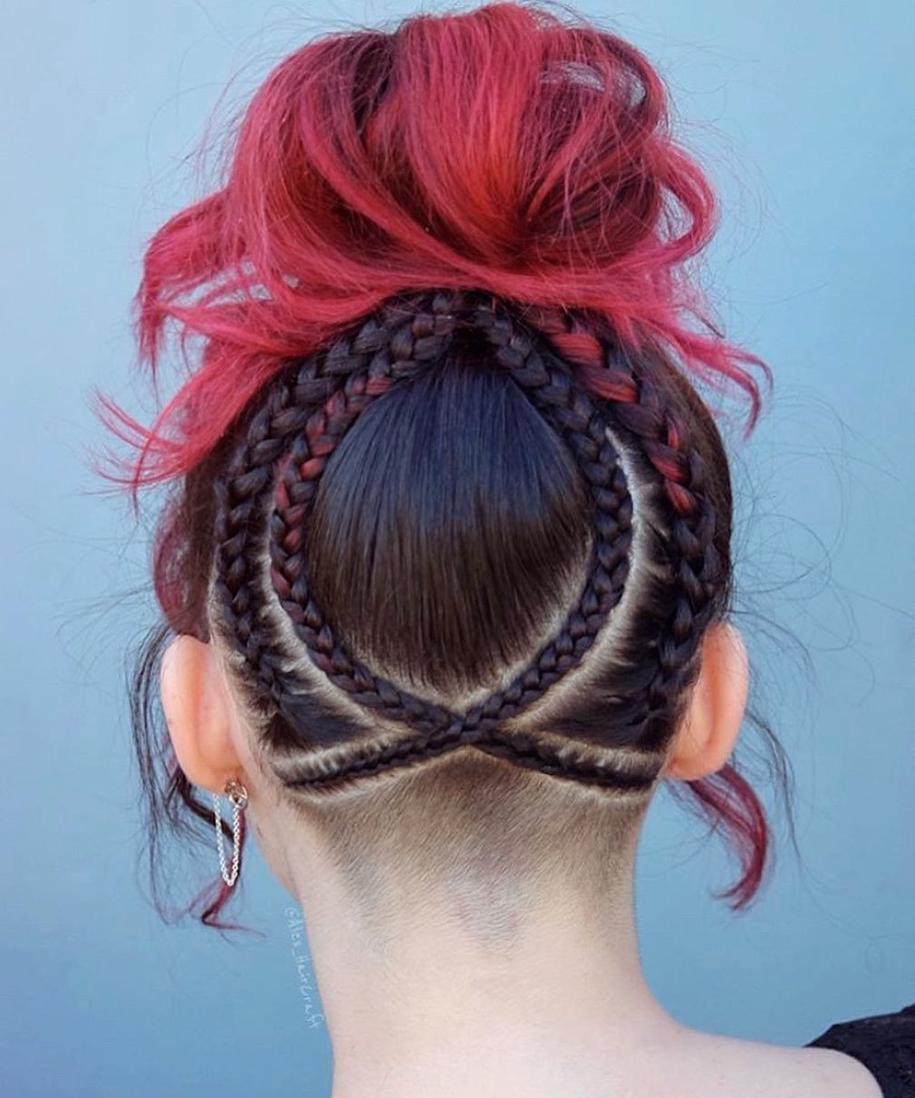 Updo with Braids and Nape Undercut