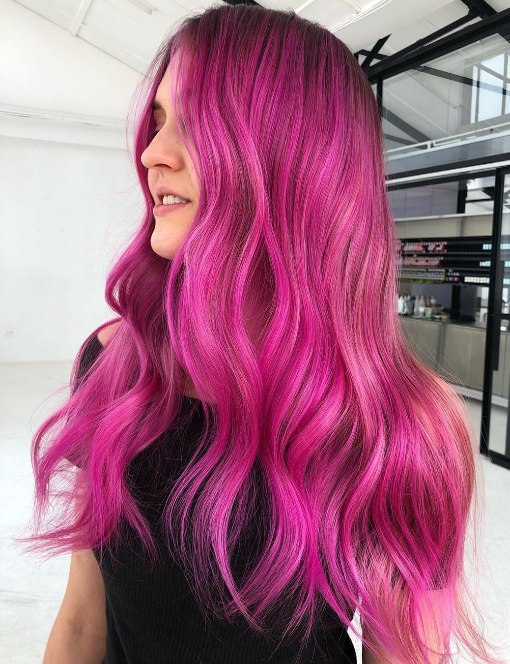 Long Bright Pink Balayage Hair