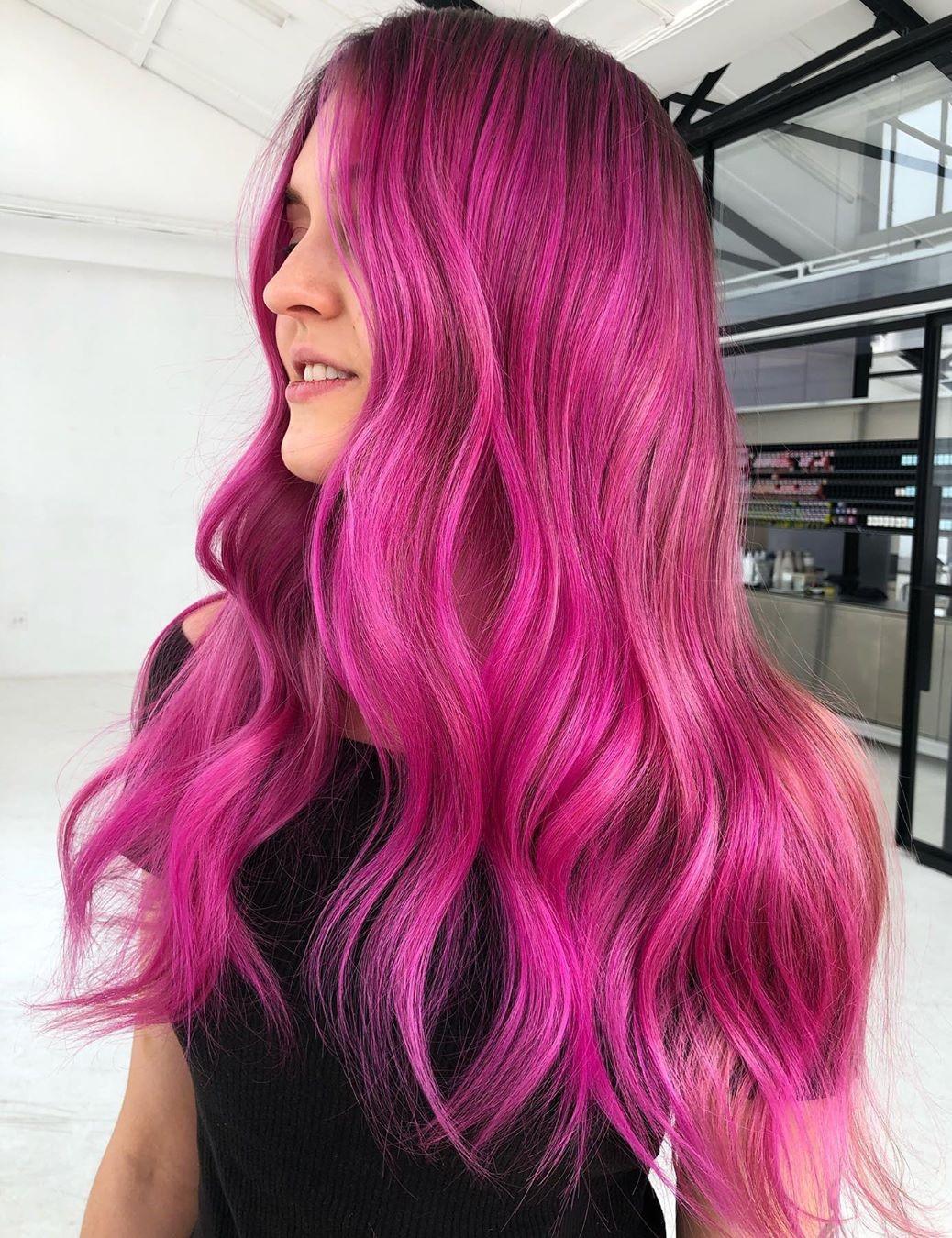 Long Bright Pink Balayage Hair