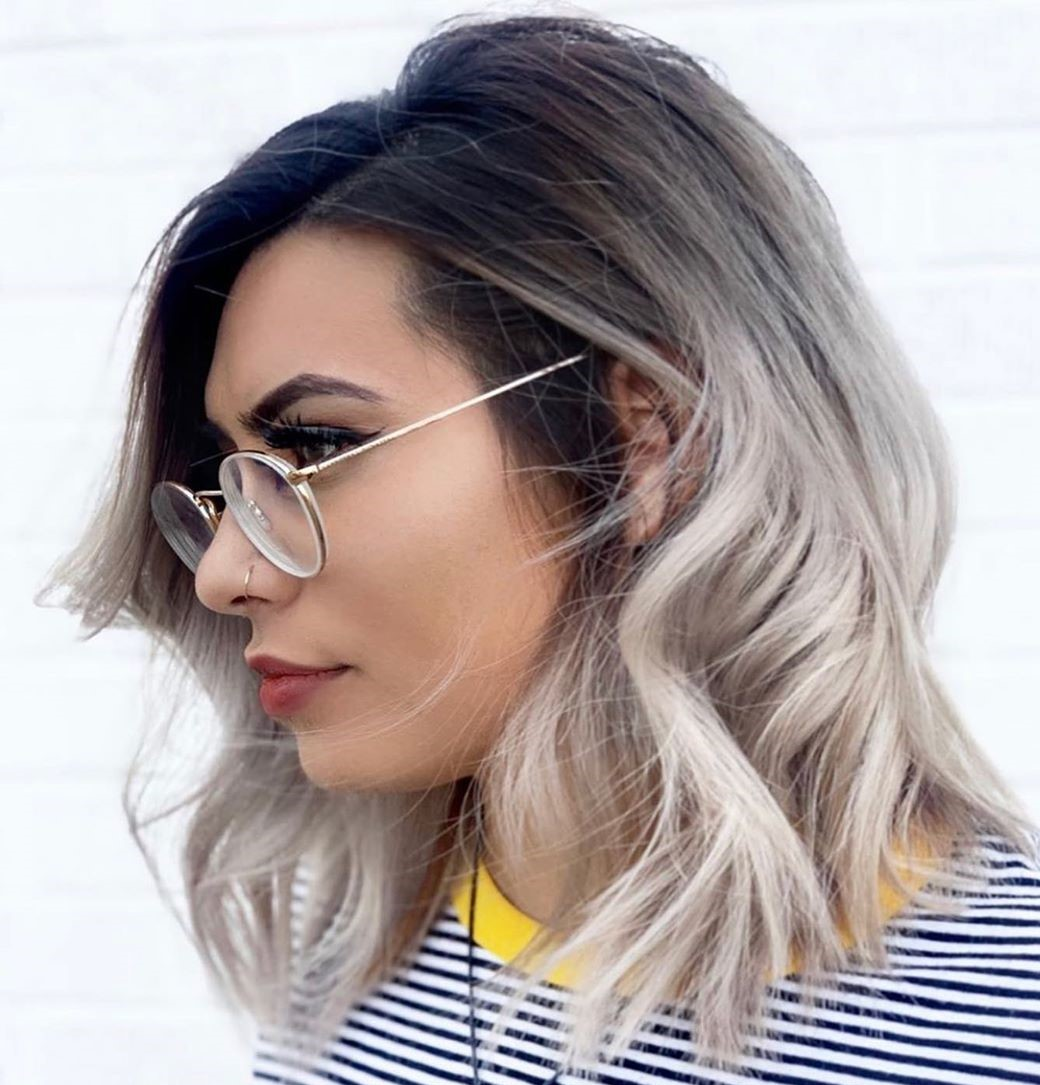 Brunette to Platinum Ombre Medium Hair
