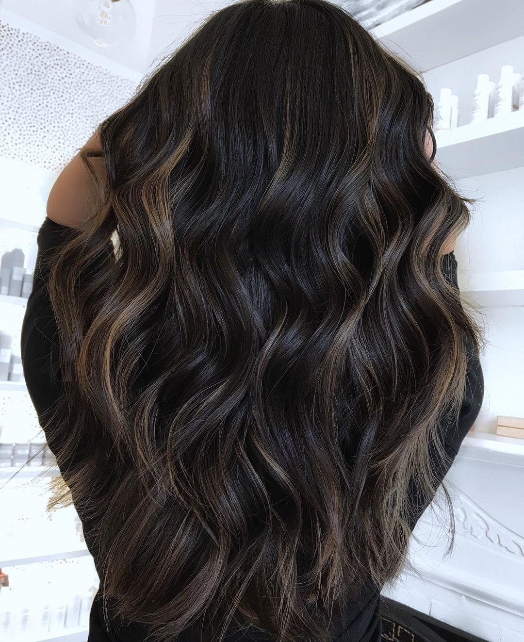 Black Hair with Dark Caramel Highlights