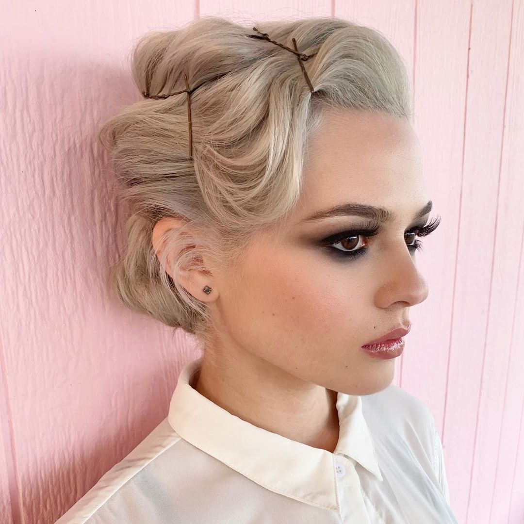 Easy Updo for Short Hair with Bobby Pins