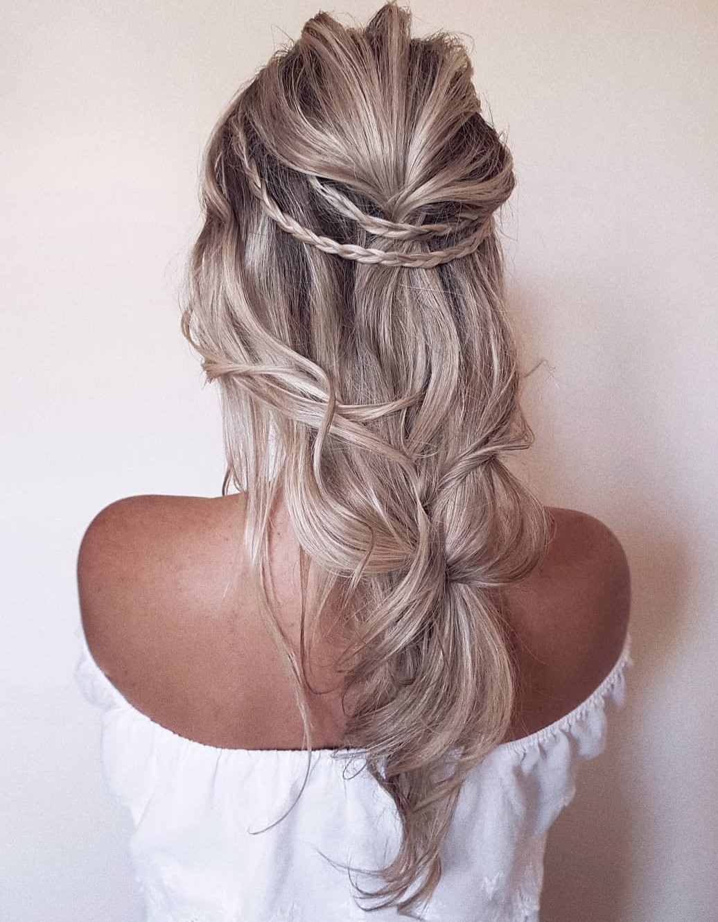 Half Updo with Thin Braids