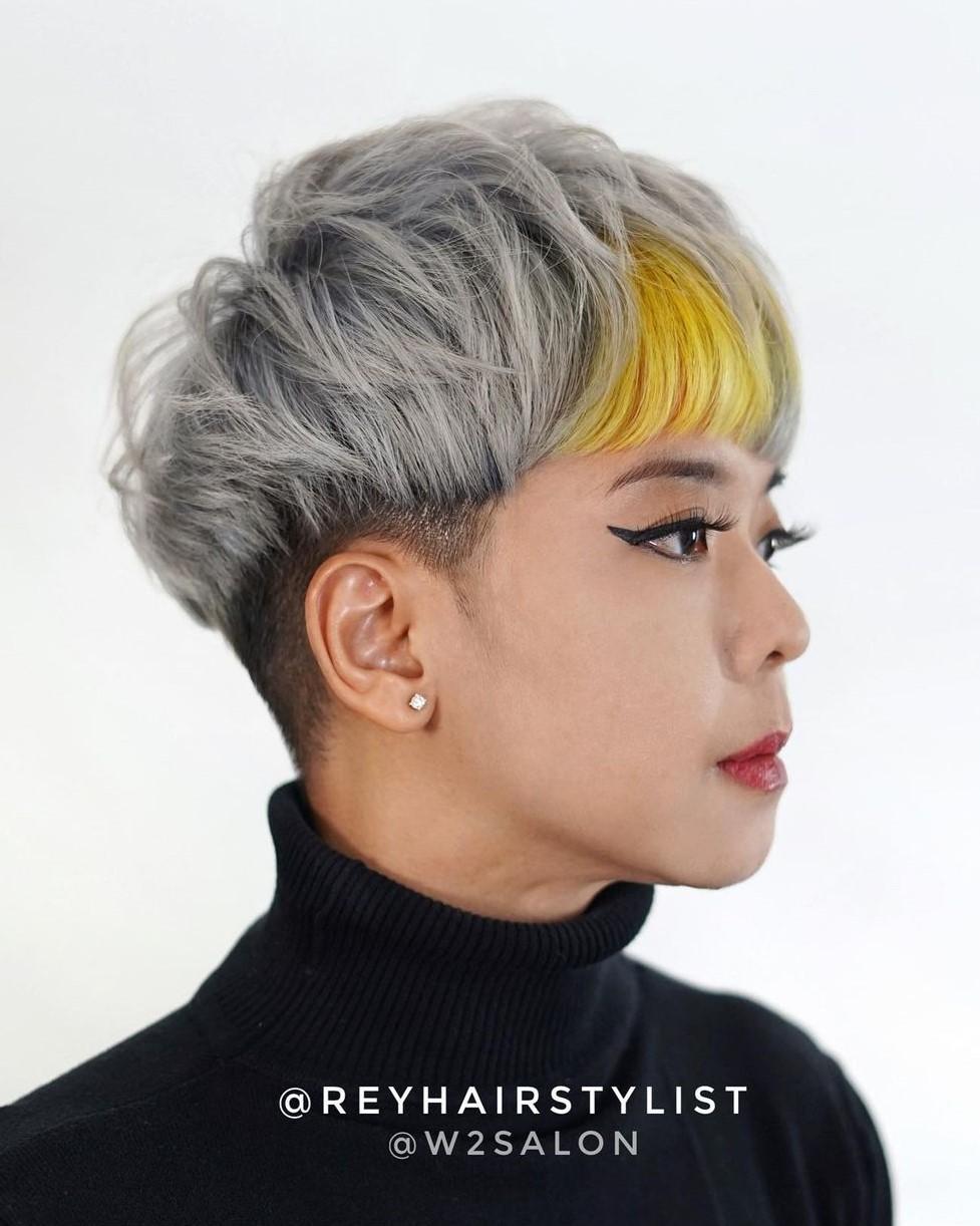Gray Short Cut with a Female Undercut