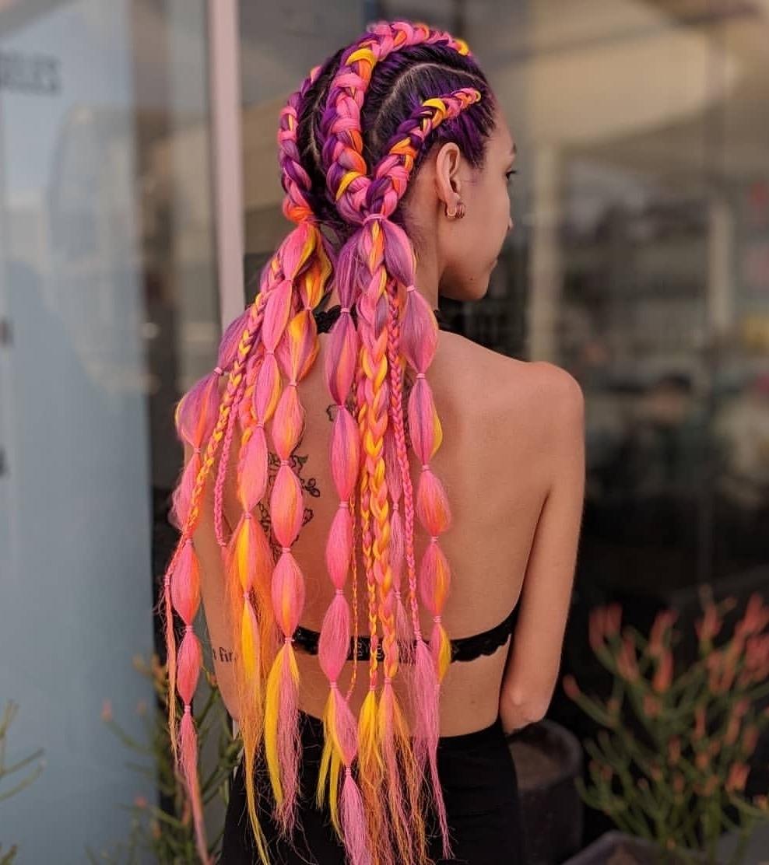 Goddess Braids and Colorful Bubble Braids