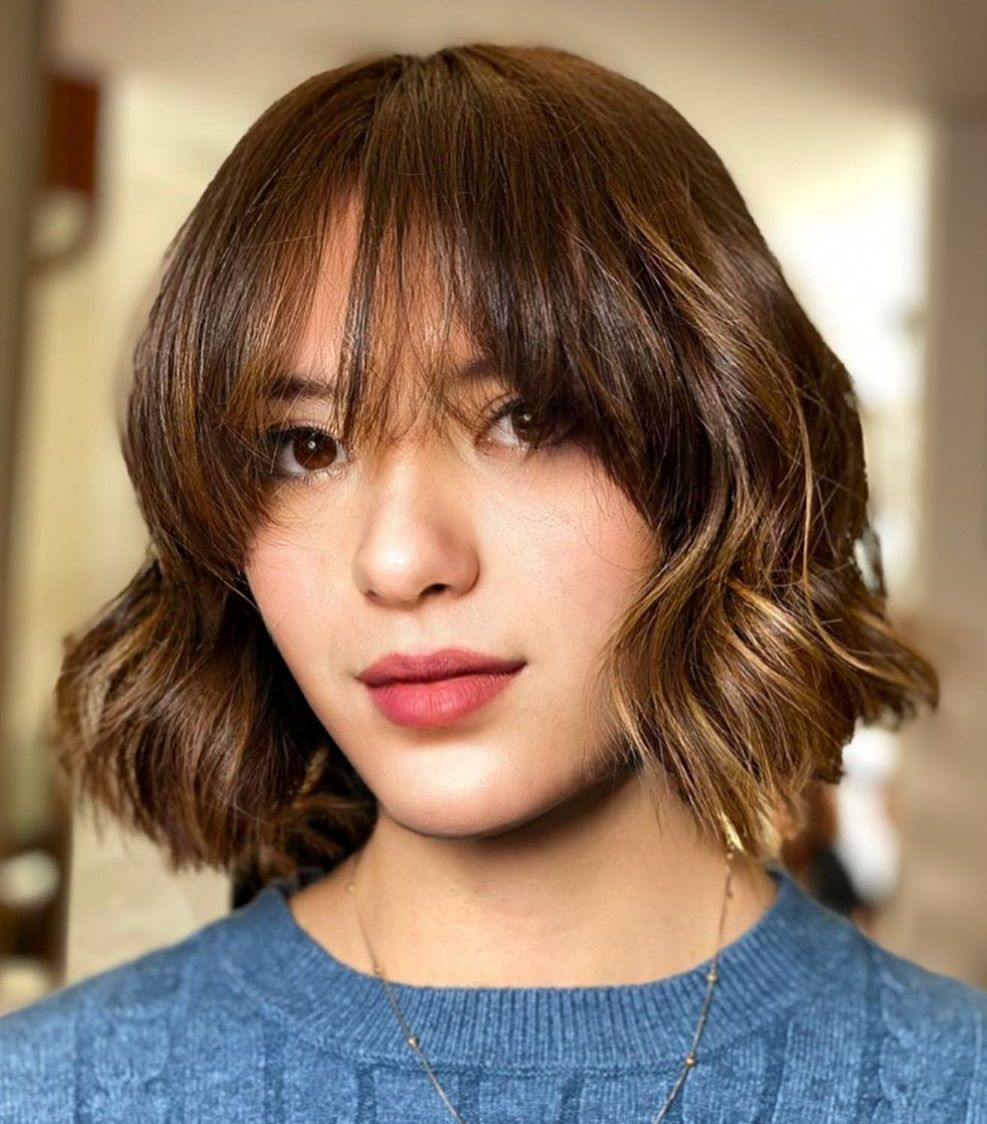 Wavy Bob with Front Bangs