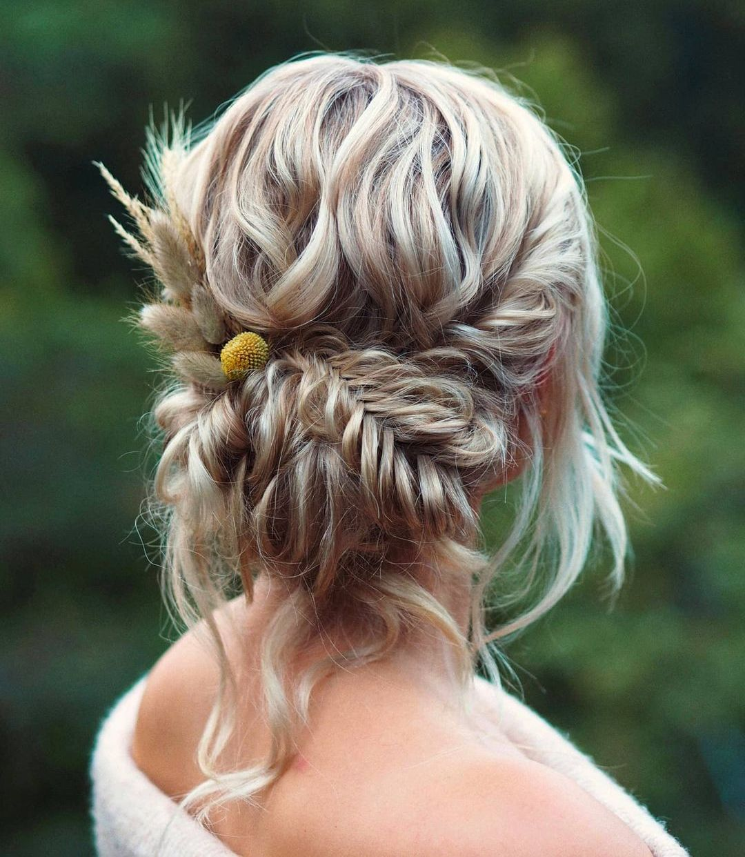 Cute Braided Updo with Flowers for Long Hair