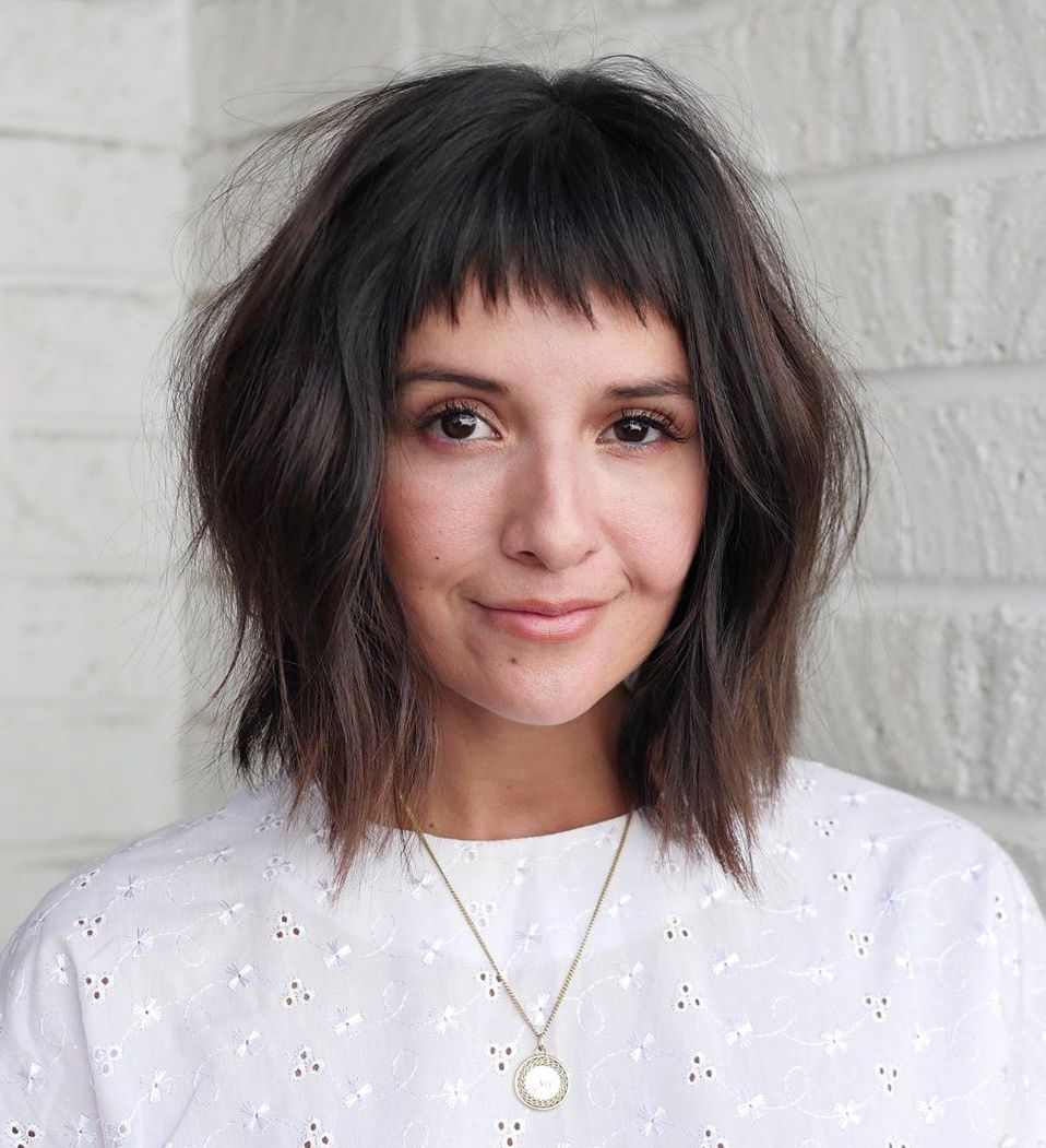 Wavy Bob with Layers and Bangs